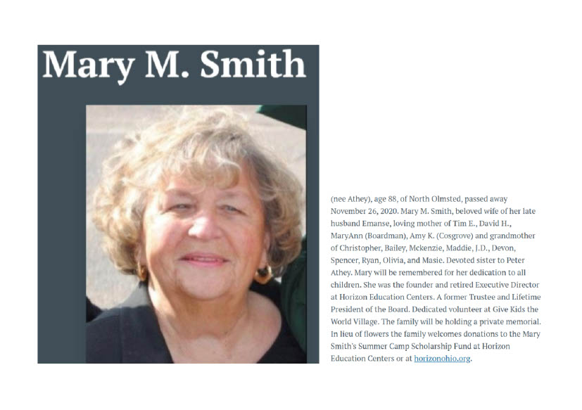 Horizon Remembers Founder Mary Smith